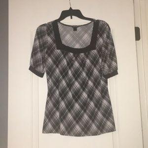 Black and gray plaid dress shirt